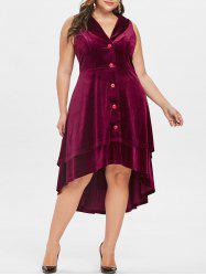 Plus Size Lapel Velvet Halloween Dress -
