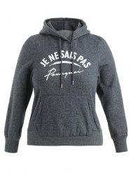 Plus Size Letter Print Hoodie -