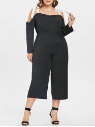Plus Size Cold Shoulder Capri Jumpsuit -
