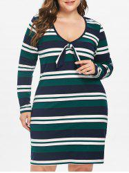 Plus Size Striped Long Sleeve Dress -