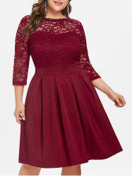 Round Neck Plus Size Lace Panel A Line Dress -