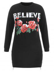 Plus Size Rose Letter Pattern Sweatshirt -