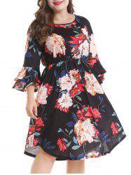 Plus Size Bell Sleeve Floral Dress -