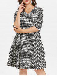 Plus Size V Neck Houndstooth Dress -