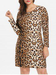 Plus Size Leopard Print Bodycon Dress -