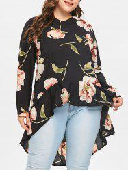 Floral Print Full Sleeve High Low Blouse -