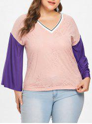 Plus Size Color Block Eyelash Lace Top -