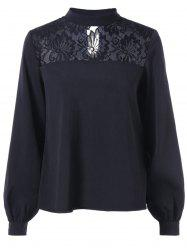 Floral Lace Insert Long Sleeve Blouse -