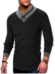 Contrast Color Shawl Collar T-shirt -