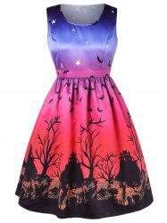 Halloween Plus Size Bat Print Sleeveless A Line Dress -