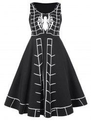 Spider Print Plus Size Sleeveless Halloween A Line Dress -