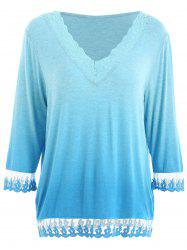 Lace Insert Ombre T-shirt -