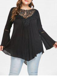 Plus Size Lace Insert Tunic Top -