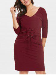 Plus Size Lace Up Waist Dress -