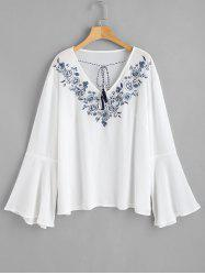 Plus Size Flare Sleeve Embroidered Blouse -