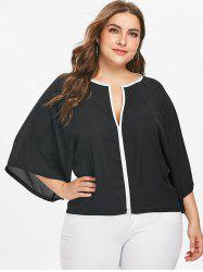Contrasting Piping Plus Size Blouse -
