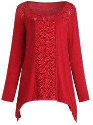 Plus Size Lace Spliced Long Sleeves Tee -