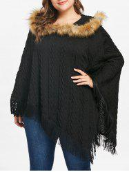 Plus Size Fringed Asymmetrical Cape Sweater -