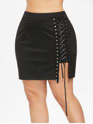 Plus Size Lace Up Sheath Skirt -