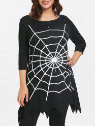 Plus Size Halloween Asymmetrical Spider Web T-shirt -