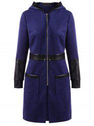 PU Leather Insert Zip Up Hooded Coat -