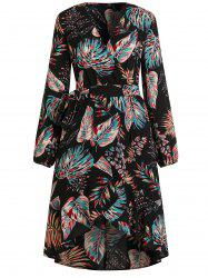 V Neck Tropical Print Midi Wrap Dress -