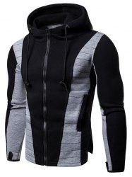 Zip Up Panel Drawstring Hoodie -