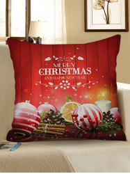 Christmas Ball Print Decorative Linen Pillowcase -