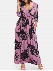 Tie Front Plus Size Printed Maxi Dress -