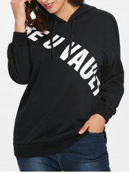 Plus Size Letter Print Tunic Hoodie -