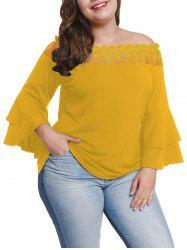 Plus Size Bell Sleeve Sheer Lace Off Shoulder Blouse -