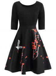 Wintersweet Print Fit and Flare Dress -