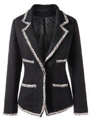 Lapel Contrast Trim Tweed Blazer -