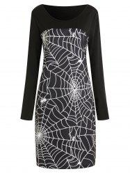 Spider Web Print Plus taille robe moulante Halloween -