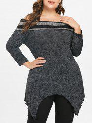 Plus Size Off Shoulder Space Dyed Tee -