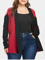 Plus Size Cold Shoulder Patchwork Jacket -