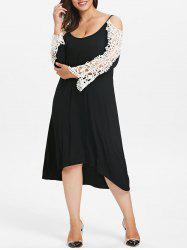 Plus Size Lace Panel High Low Dress -