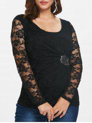 Plus Size Lace Insert Sequins Long Sleeve Top -