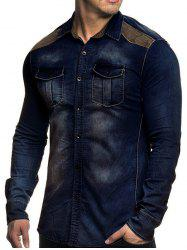 Denim Chest Pockets Long Sleeve Panel Shirt -
