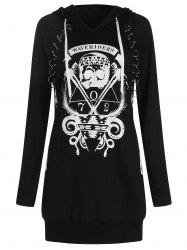 Skulls Letters Print Pullover Hoodie with Becket -