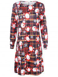 Plus Size Santa Claus Print Plaid Christmas Dress -