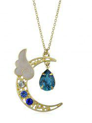 Artificial Crystal Waterdrop Wing Crescent Moon Pendant Necklace -