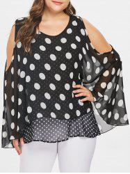 Cold Shoulder Plus Size Overlay Polka Dot Blouse -