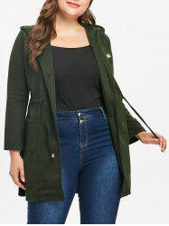 Plus Size Drawstring Waist Hooded Coat -