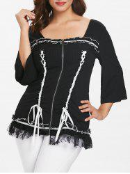 Plus Size Lace Up Panel Ribbed Top -
