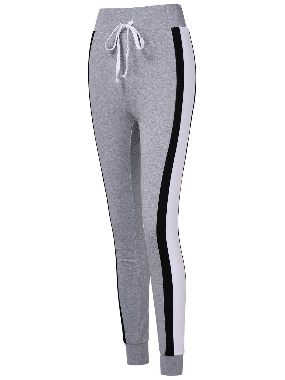 Unique Stripe Brim Slim Fit Workout Pants