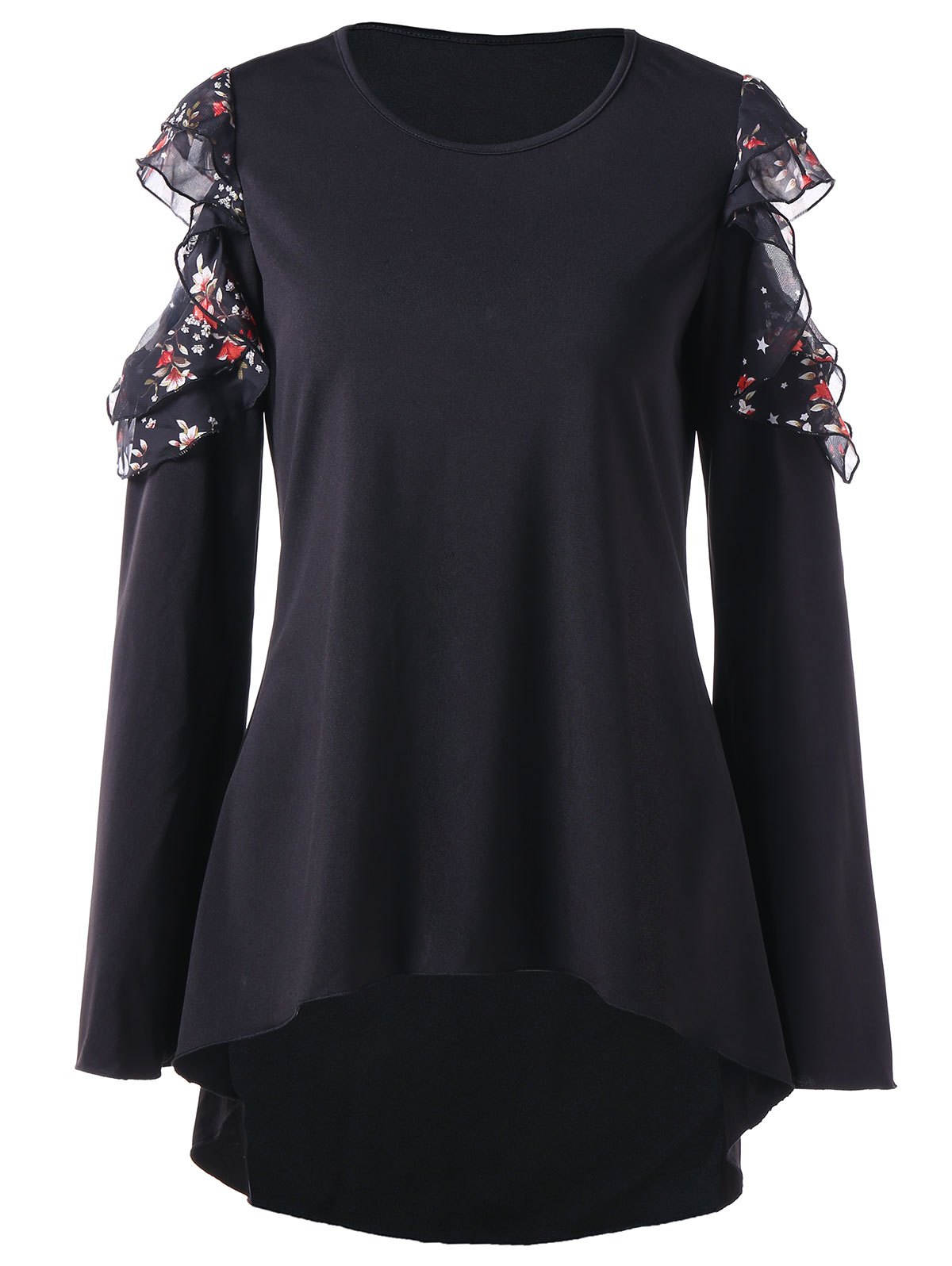 Trendy Chiffon Panel Cold Shoulder Full Sleeve T-shirt