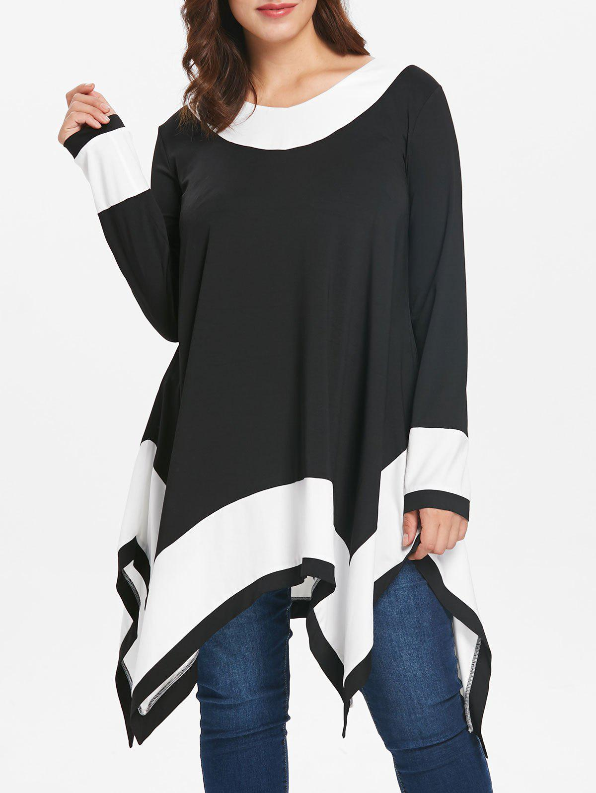 92320c46f6c 49% OFF] Plus Size Long Sleeve Handkerchief Tunic Top | Rosegal