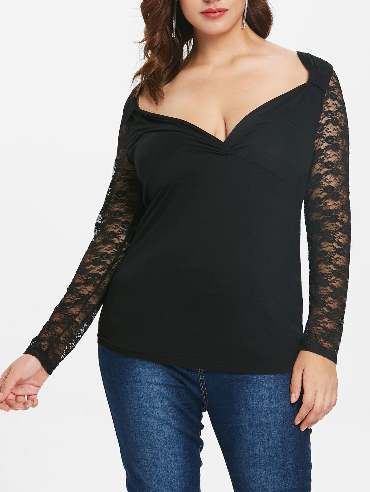 Fashion Plus Size Lace Panel Long Sleeve Top