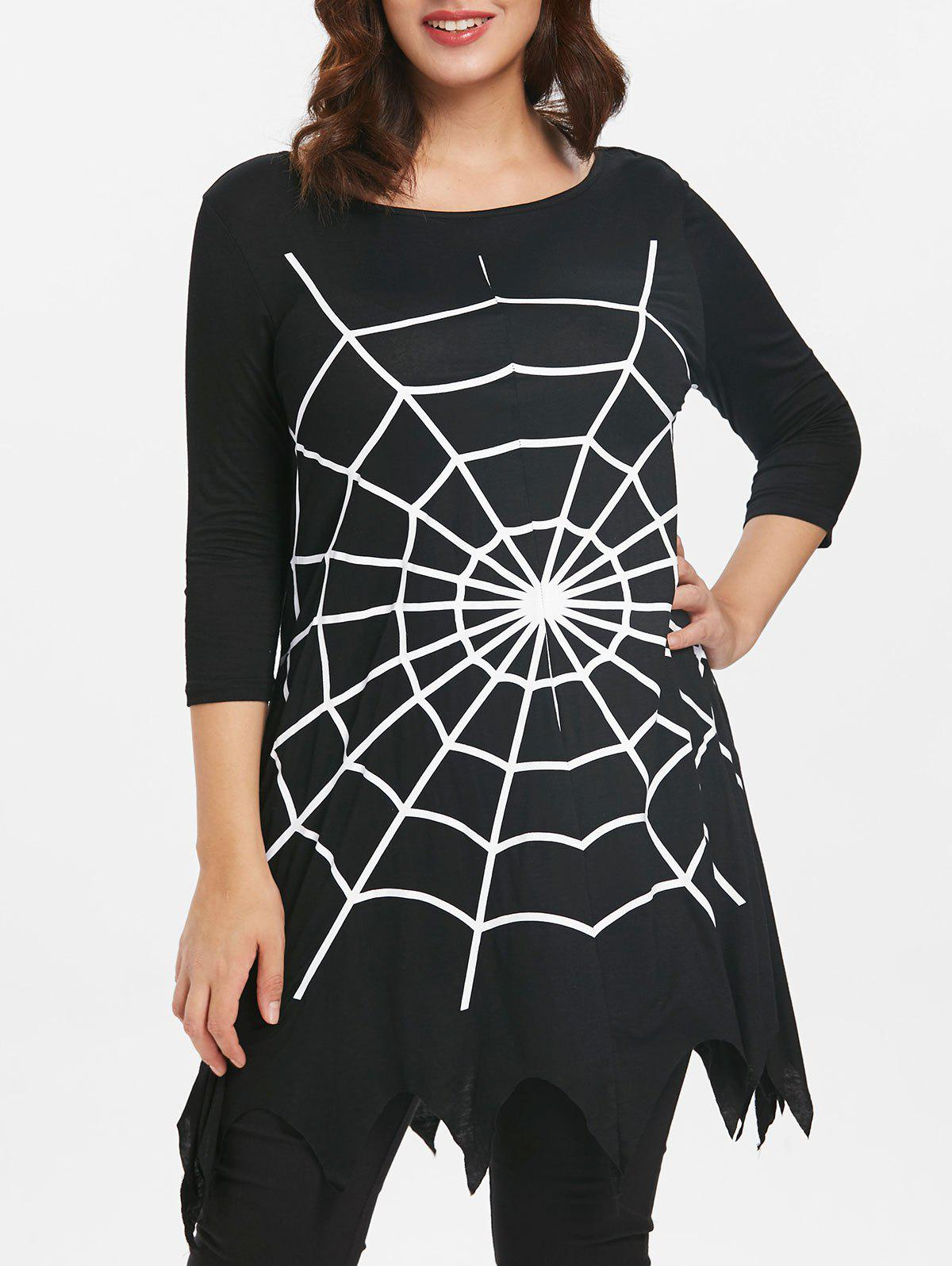 New Plus Size Halloween Asymmetrical Spider Web T-shirt